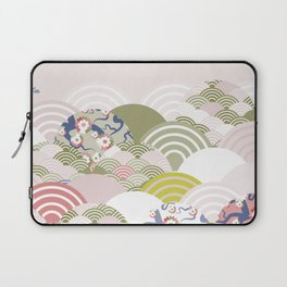 scales simple Nature background with japanese sakura flower, rosy pink Cherry, wave circle pattern Laptop Sleeve