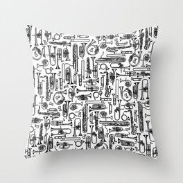 Horns B&W II Throw Pillow