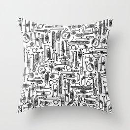 Horns B&W II Throw Pillow