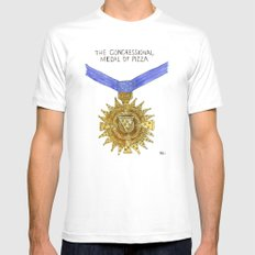 The Congressional Medal of Pizza SMALL Mens Fitted Tee White