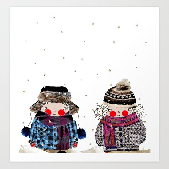 Rosy cheeks and frozen toes Art Print