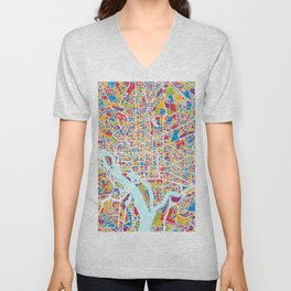 Washington DC Street Map Unisex V-Neck