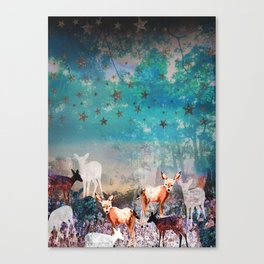 Deer Enchanted Forest  Canvas Print