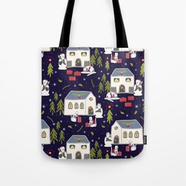 Christmas Cats Village Festive Seamless Vector Pattern, Drawn Present Boxes Tote Bag