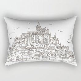 Le Mont Saint Michel ,Normandy, France. Hand drawn sketch Rectangular Pillow