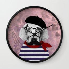 Doggy the Pooh loves Paris! Wall Clock