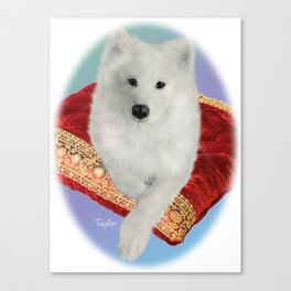 Samoyed Portrait; Taylor on Royal Cushion--Oval Canvas Print