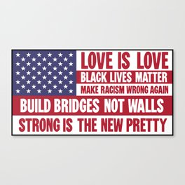US flag with liberal slogans Canvas Print