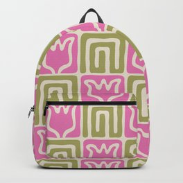 Mid Century Flower Garden Pattern 381 Pink and Chartreuse Backpack