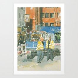 Roadworks in Old Compton Street Art Print