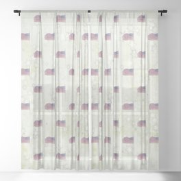 American Flag Aglow, stars in the dawn's early light, pattern Sheer Curtain