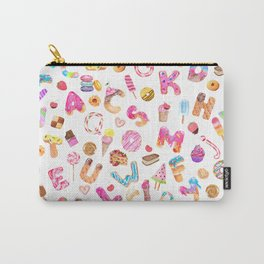 Watercolor Desserts Alphabet Pattern Carry-All Pouch