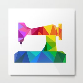 Geometric Sewing Machine Metal Print