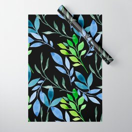 Blue and Green Leaves Wrapping Paper