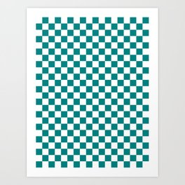 Small Checkered - White and Dark Cyan Art Print