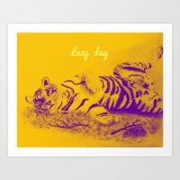 Lazy tiger Art Print