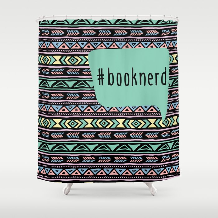 Book Nerd Tribal Print Shower Curtain By Evieseo