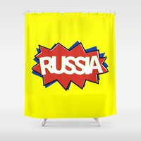 russia Shower Curtains featuring Russia by mailboxdisco