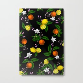 Citrus,floral,oranges,lemons,summer pattern Metal Print