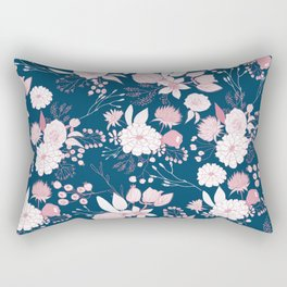 Elegant mauve pink white navy blue rustic floral Rectangular Pillow