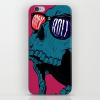 rock n roll iPhone & iPod Skins featuring Rock N' Roll Skull by Diseños Fofo