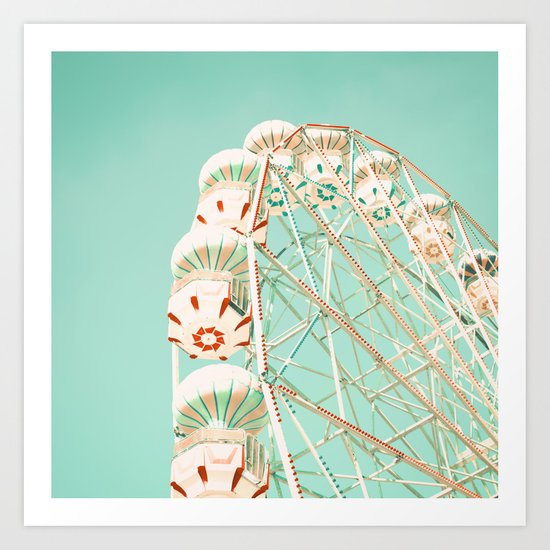 Blue and Red Ferris Wheel  Art Print