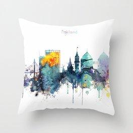 Oakland California Blue  skyline print Throw Pillow