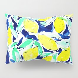 Bold Lemons Blue Pillow Sham