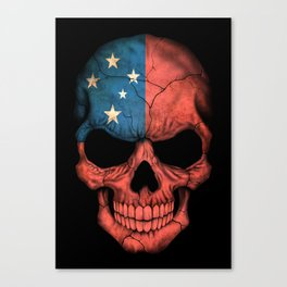 Dark Skull with Flag of Samoa Canvas Print