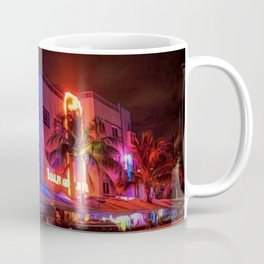 South Beach Miami Portrait in Colorful Time Lapse Paint by Jeanpaul Ferro Coffee Mug