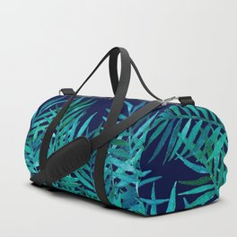 Watercolor Palm Leaves on Navy Duffle Bag