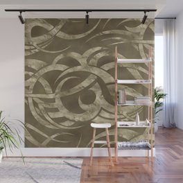 Abstract Maori curve shapes - pastel gold Wall Mural