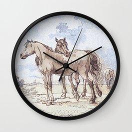 Companions - horse love Wall Clock
