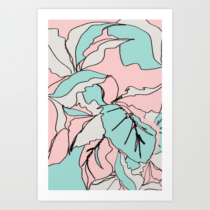 Pastel Plant Sketch I Art Print