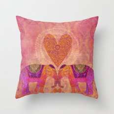Elephants in Love with heart Throw Pillow