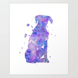 Boxer Dog Watercolor Painting 3 Art Print