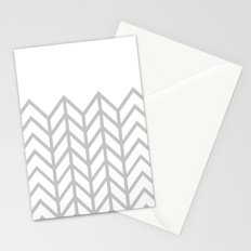 GRAY & WHITE LACE CHEVRON Stationery Cards