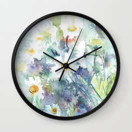 watercolor drawing - white daisies, beautiful bouquet, painting Wall Clock