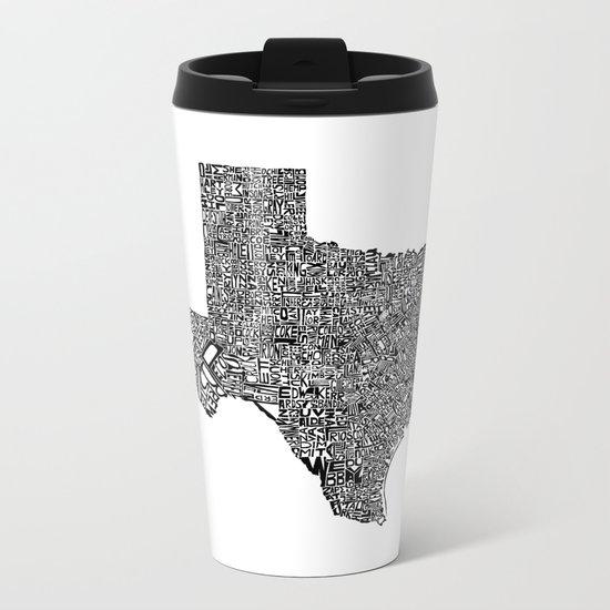 Typographic Texas Metal Travel Mug