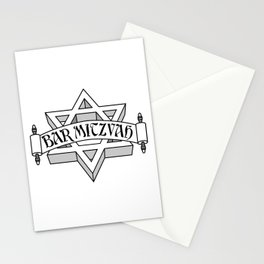 Bar Mitzvah with silver scroll &  Star of David  Stationery Cards