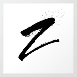 Letter Z Ink Monogram Art Print