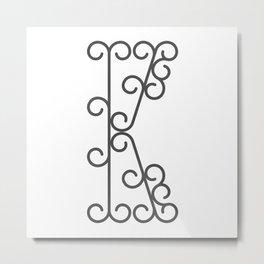 "Letter ""K"" in beautiful design Fashion Modern Style Metal Print"
