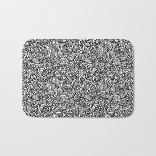 In the Strange Garden | Floral pattern, b/w Bath Mat