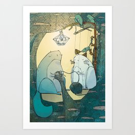 Knitting Cats Art Print