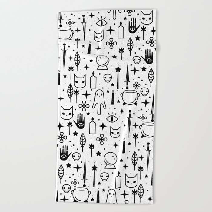 Spirit Symbols White Beach Towel