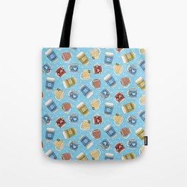 Cozy Mugs - Bg Blue Wood Tote Bag