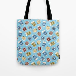 Cozy Mugs - Bg Blue Wood Tote Bag