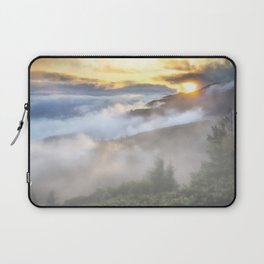 Sunrise and Dust - Mountains - Forest - Wood - Trees - Fog Laptop Sleeve