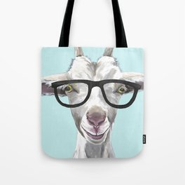 Goat with Glasses, Cute Farm Animal Tote Bag