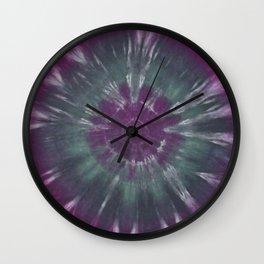 Purple Green Circle Tie Dye Ring Wall Clock